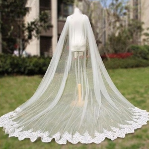 Długość katedralna ślubna peleryna welon ślubna peleryna koronkowa długa akcesoria dla nowożeńców Manto