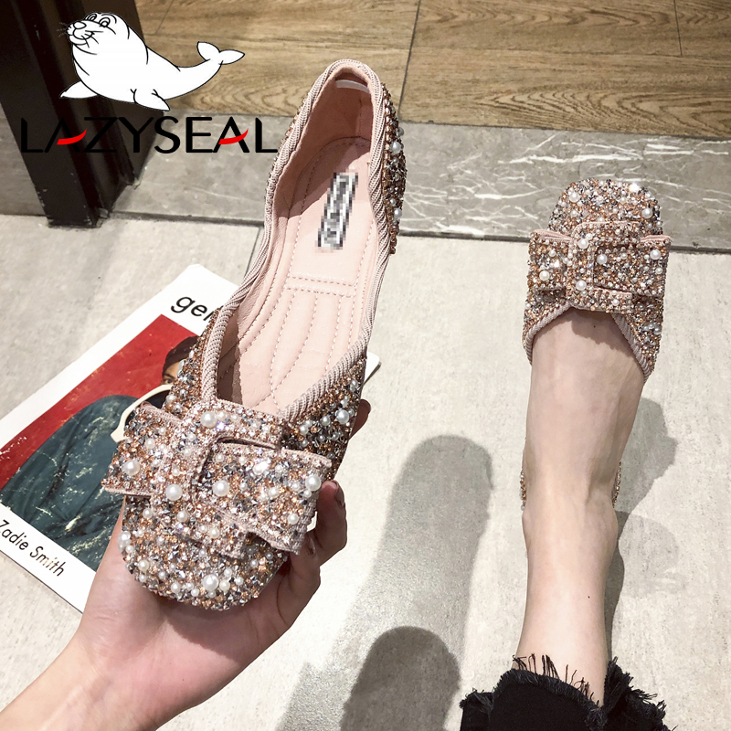 LazySeal Crystals Pearl Butterfly-knot Women Flats Bling Woman Shoes Ladies Soft Sole Square Toe Slip-on Bling Shoes