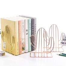 2PCS/Pair Creative Cactus Shaped Metal Bookends Book Support Stand Desk Organizer Storage Holder Shelf