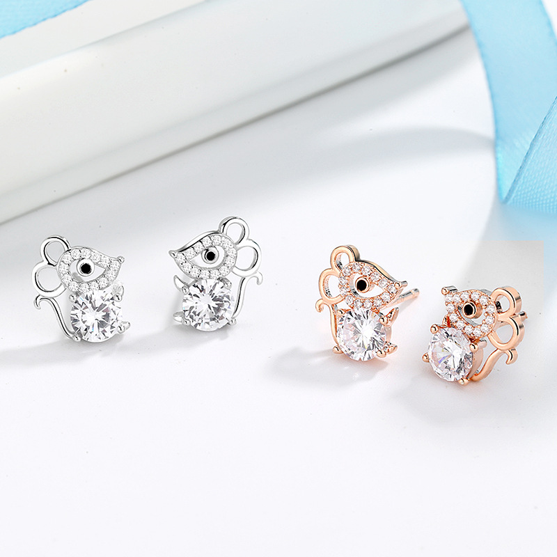 Cute Female White Round Zirconia Earrings 925 Sterling Silver Stud Earrings For Women Korean Animal Mouse Wedding Earrings
