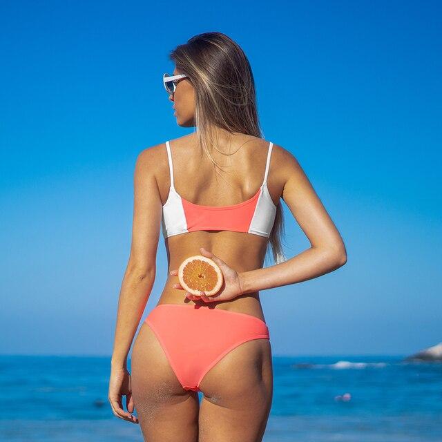 Conjunto de Bikini de cintura baja para mujer, ropa de baño Sexy sin mangas, bañador de dos piezas 5