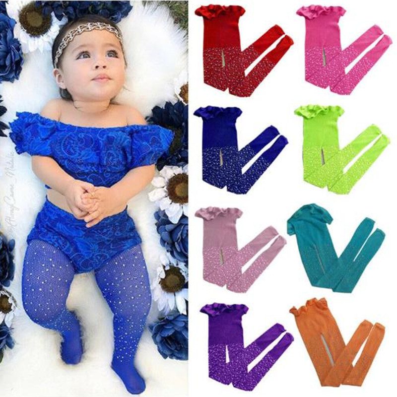 Lovely Toddler Girls Mesh Fish Net Crystal Bling Tights Children Stretch Elastic Waist Tights Stockings Solid Pantyhose