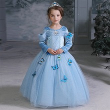 Disney Princess Girls Dress Kids Dresses for Girls Christmas Dress Up Costume Party Long Sleeve Frozen Girl Clothes New Year thick warm wniter girl dress christmas wedding party princess dresses pearls flare sleeve kids girls clothes pink 4 11t