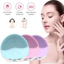 Mini USB cepillo de limpieza Facial eléctrico de silicona limpiador sónico limpieza profunda de poros masaje de piel impermeable