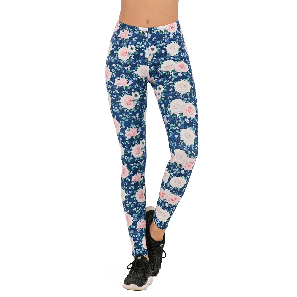 Brands Women Fashion Legging Roses Blue Gird Printing Leggins Slim Legins High Waist Leggings Woman Pants
