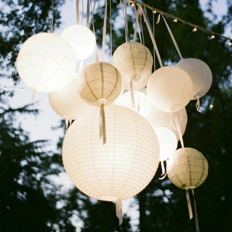 Witte Ronde Chinese Papieren Lantaarn Birthday Party Decoration Holiday Supplies Papier Lamp Decor 10/15/20/25/30/35/40 Cm