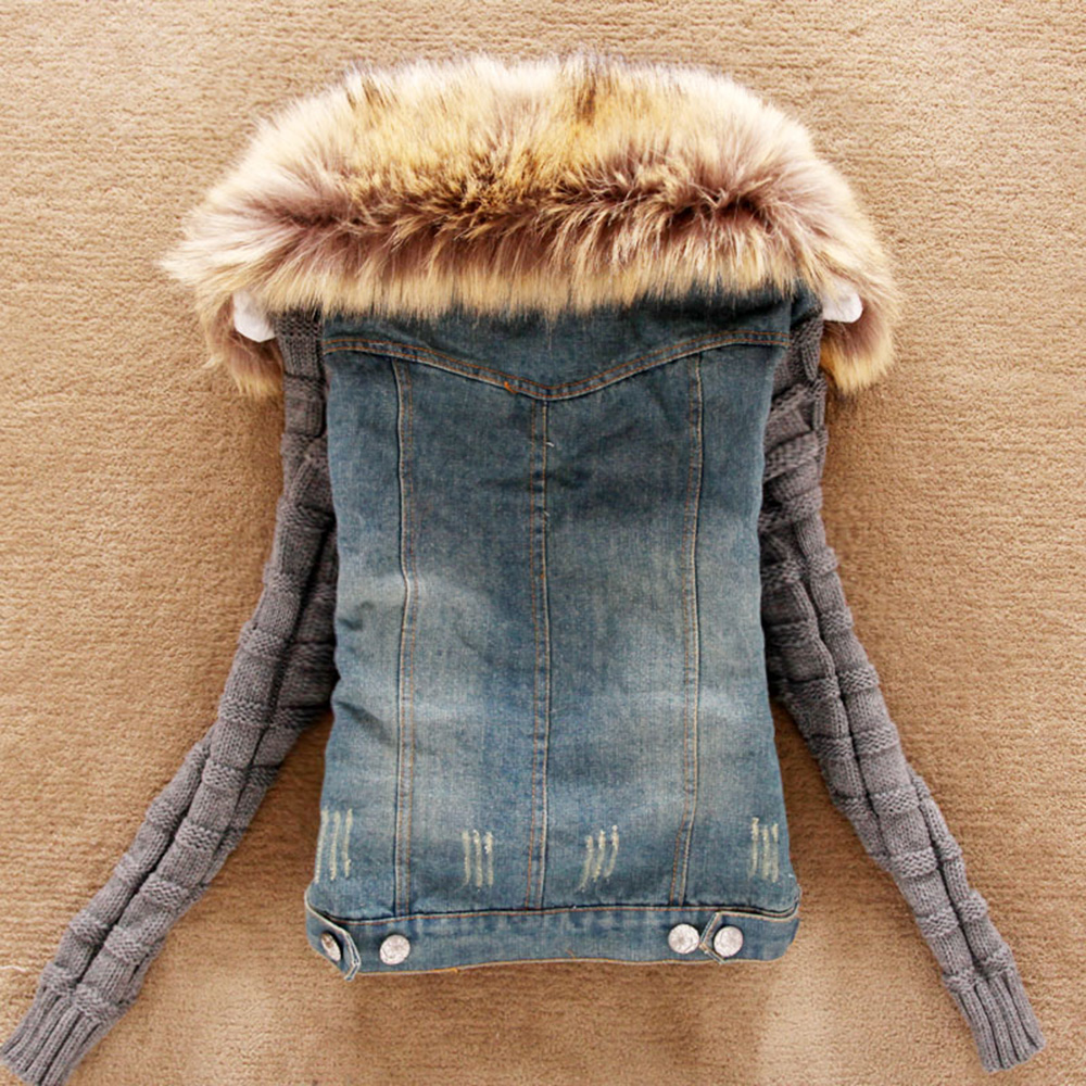 Women Jeans Jacket Spring High Street Denim Jacket faux fur Coat Casual Clothing Overcoat Tops Female Jeans Coat