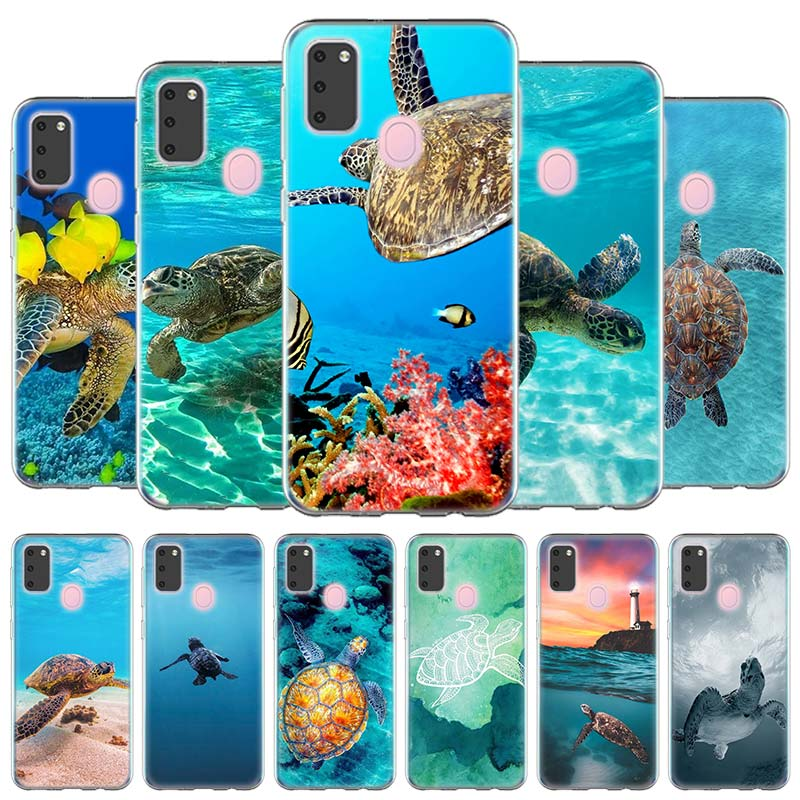 Silicone Case <font><b>Coque</b></font> for <font><b>Samsung</b></font> Galaxy <font><b>A10e</b></font> A20s A30 A40 A50 A60 A70 A80 A51 A71 Phone Shell Hawaiian Blue Turtle Cel image