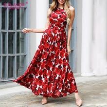 S.FLAVOR New Sleeveless Maxi Long Dress Women Vintage Floral Print Boho Dress No Pockets 2020 Summer Fashion Beach Dress
