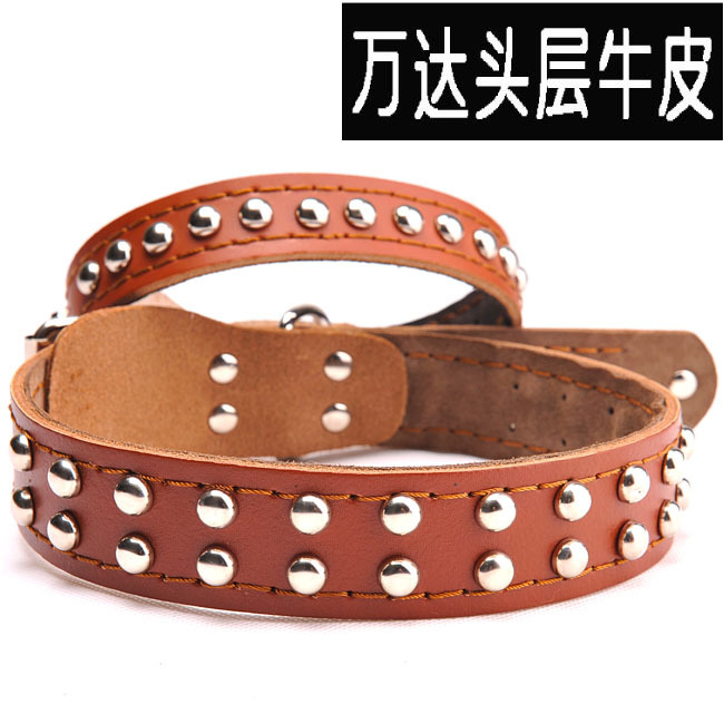 Cattle Hide Single \ Double Row Rivets Dog Neck Ring Cow Leather Collar Genuine Leather Pet Collar