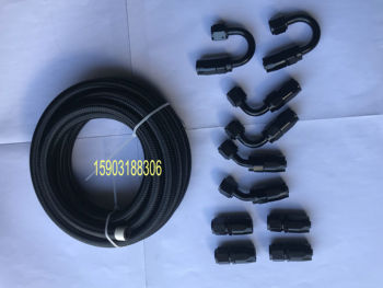 SAE J1532 AN8 Black Nylon Cover Stainless Steel Braided Transmission and Engine Oil Cooler Hose With 8AN Aluminum An Fittings