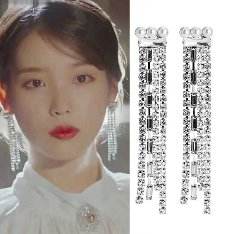 Fashion New Korean Star TV Simulated Pearl Zircon Chain Drop Tessal Earrings Geometric Elegant Pendientes Girl Jewelry Gifts