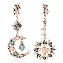 HOCOLE Big luxury Sun Moon Drop Earrings Rhinestone Punk for women Jewelry Golden boho vintage statement earrings