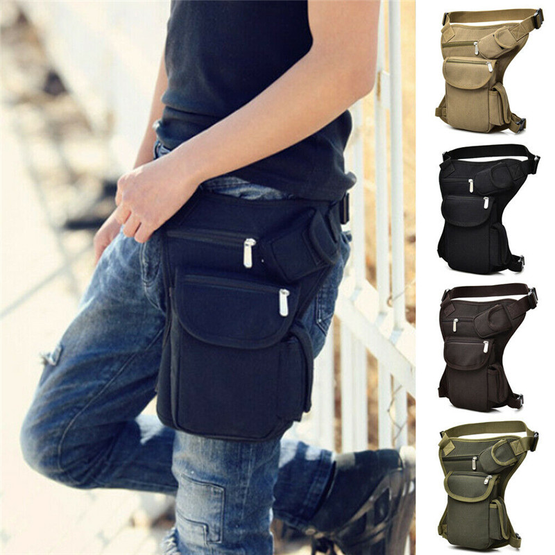 Waterproof Tactical Military Leg Bag Men's Canvas Waist Pack Drop Belt Outdoor Tactical Hip Pouch Travel Hiking Pack