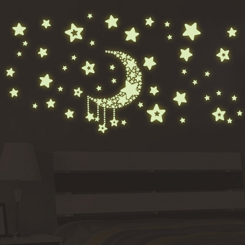 Star Moon Luminous Sticker Kids Rooms Living Room Bedroom Glow In The Dark Decoration Home Decals Fluorescent Wall Stickers