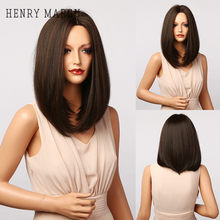 Henry margu marrom escuro ombre bob perucas sintéticas para mulheres longas perucas de cabelo reto parte média natural perucas diárias resistentes ao calor