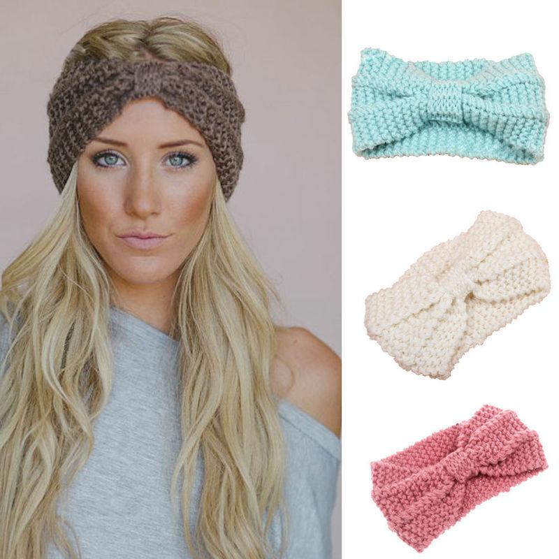 Winter New Fashion Solid Wool Warm Crochet Bow Cross Wool Headband For Lady Women Head Bands Knitting Headwraps Hair Accessories