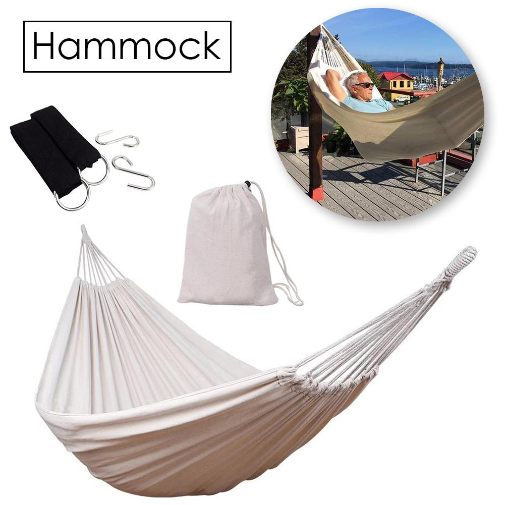 White Hammock Two Person Bed With Soft Woven Cotton Fabric Carrying Pouch For Backyard Porch Outdoor Indoor Use With Storage Bag