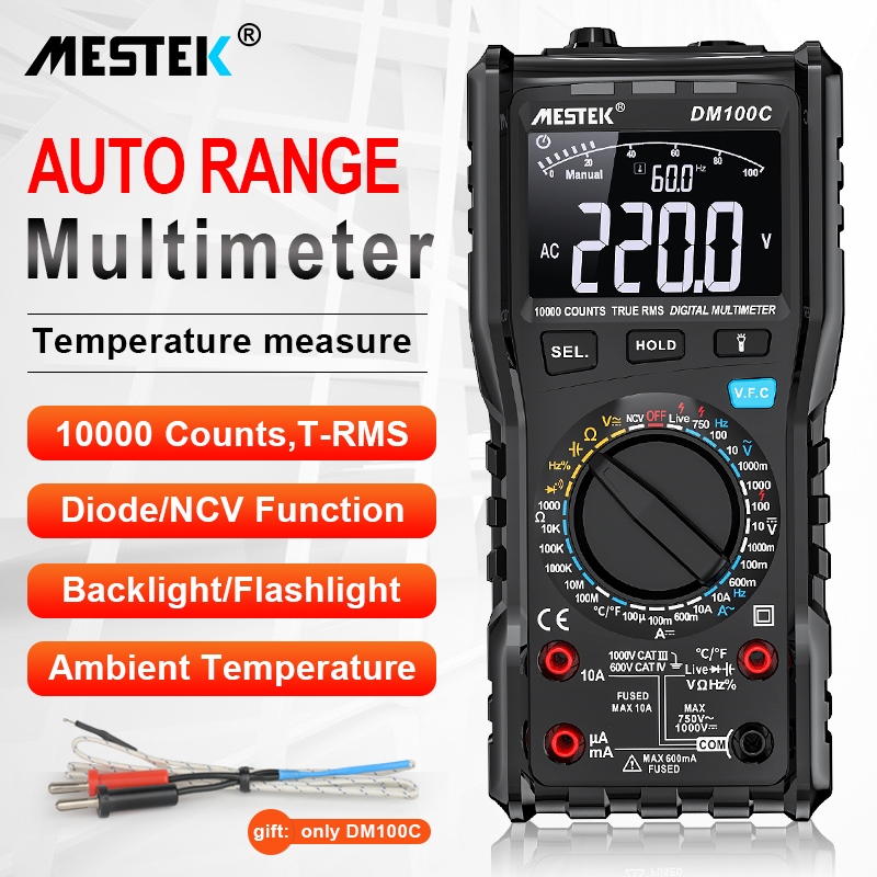 Digital Multimeter 10000 Counts AC/DC Ammeter Fuse Alarm Diode Volt Ohm Tester Meter Multimetro With Thermocouple LCD Backlight