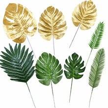 Feuilles de tortue artificielles or vert, 5/10 pièces, fausse plante en soie pour mariage, fête d'anniversaire, décor de maison, feuilles de palmier