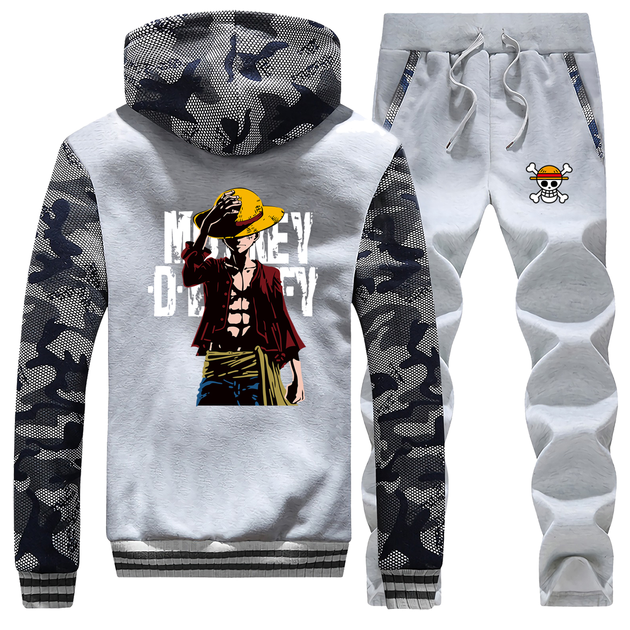 One Piece Japan Men's Sets Monkey D Luffy Camo Mens Japan Anime Sweatsuit Casual Winter Warm Jacket Fleece Bodywarmer Sweatshirt