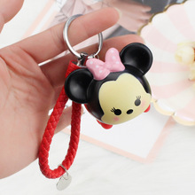 Hot cartoon Mickey Minnie lovers keychain Cute duck plastic figure key chains car bag braided rope keyring small pendant
