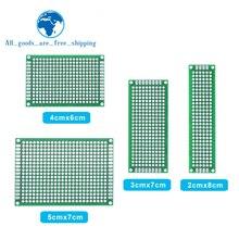 Прямая поставка, 4 шт., 5x7, 4x6, 3x7, 2x8 см, двухсторонний медный прототип, печатная плата, универсальная плата из стекловолокна для Arduino