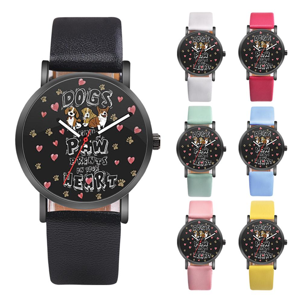 Lovely Dog Relogio Inteligente Faux Leather Band Student Relogio Girls Casual Round Quartz Wrist Watch Gift Watches New Ladies D