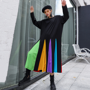 Image 2 - [EAM] נשים צבעוני פסים Hem גדול גודל שמלה חדש עגול צוואר ארוך שרוול Loose Fit אופנה גאות באביב סתיו 2020 1D621