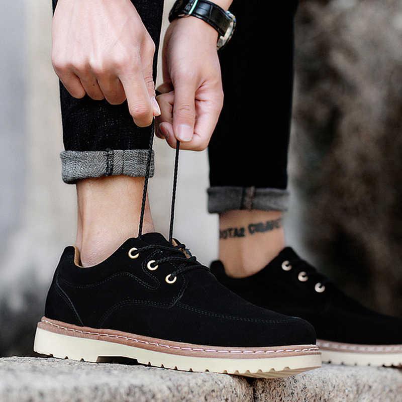 2019 Sıcak Erkek Botları Moda Sıcak Kış erkek ayakkabısı Sonbahar Deri Ayakkabı Adam Için Yeni Yüksek Üst Tuval rahat ayakkabılar Erkekler