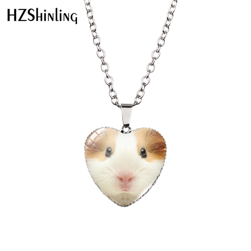 2016 New Guinea Pig Heart Necklace Guinea Pig Heart Pendant Glass Jewelry Fashion Heart Shaped Necklaces HZ3