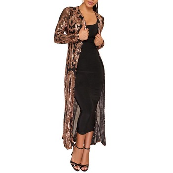 cardigan Women's Long Sweater Cardigan Evening Party Women Sexy Sequin Perspective Long Sleeve MaxiCoat Gown кардиган женский 1