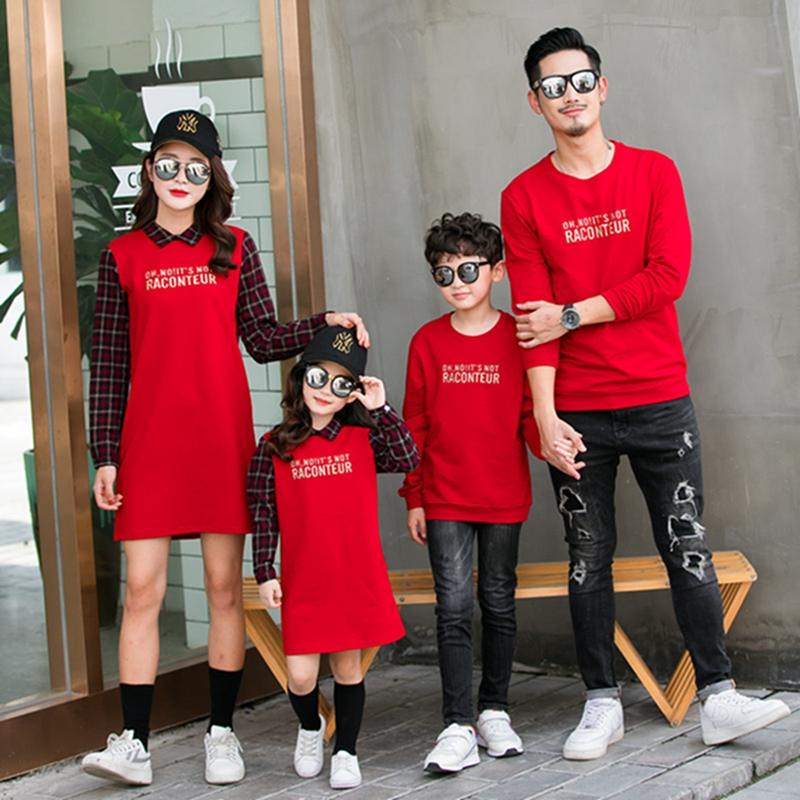 2019 New Autumn Family Matching Outfits Mom And Daughter Fashion Embroidery Dress Dad Son Sweatshirt Children Long Shirts