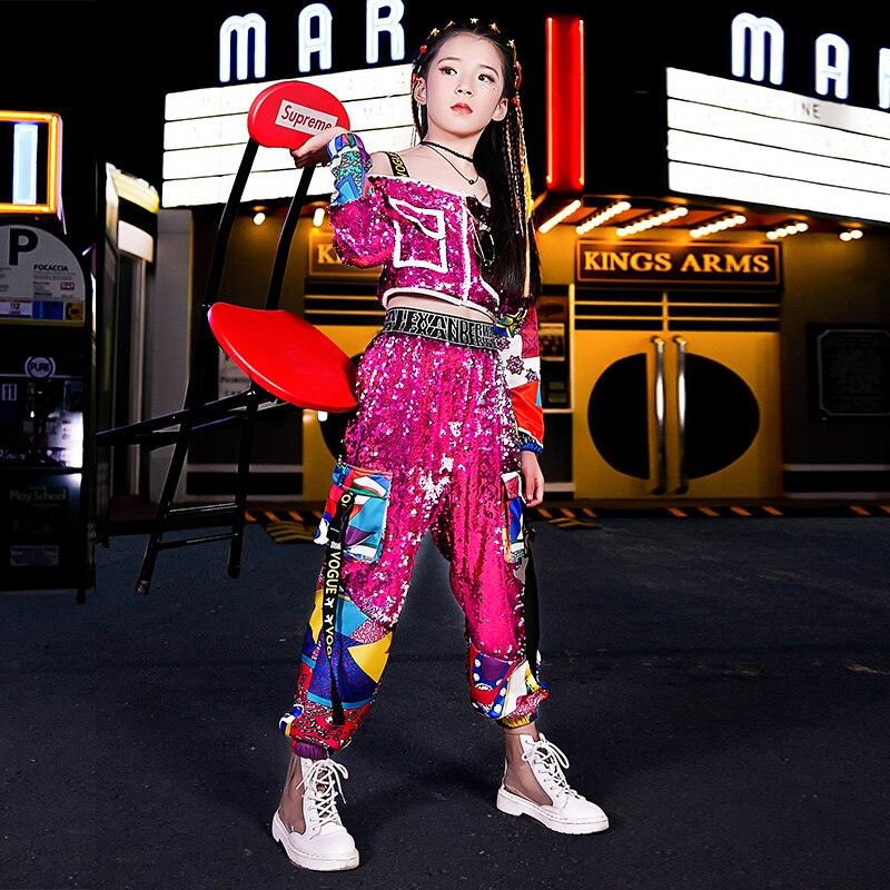 Girls Jazz Dance Sequin Suit Autumn Children Hip-hop Hip-hop Model Fashion Trend Catwalk Performance Costume Dance Costume