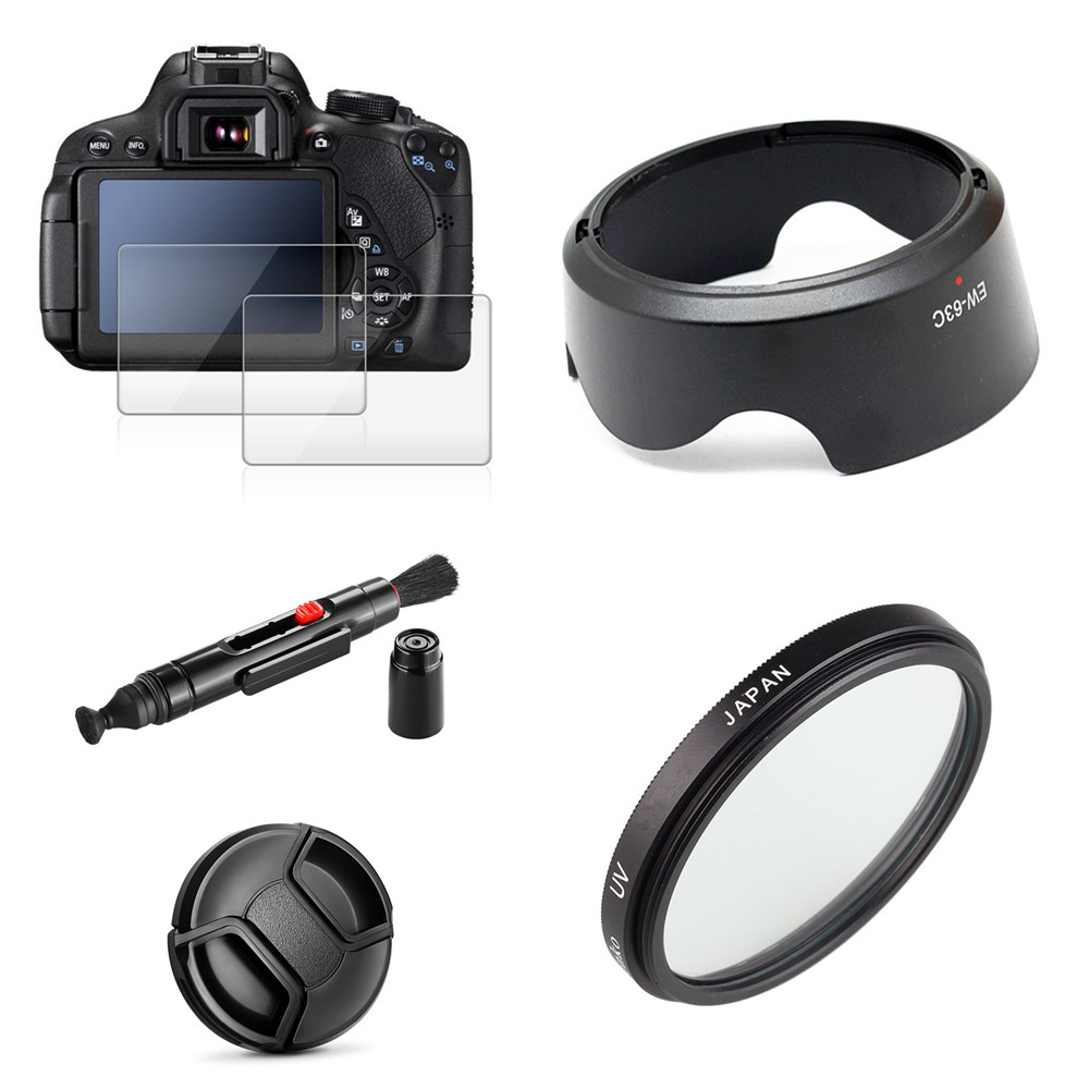 UV Filter + EW63 Lens Hood + Cap + 9H Tempered Glass Screen Protector For Canon EOS 200D Mark II 250D Rebel SL2 SL3 18-55mm Lens