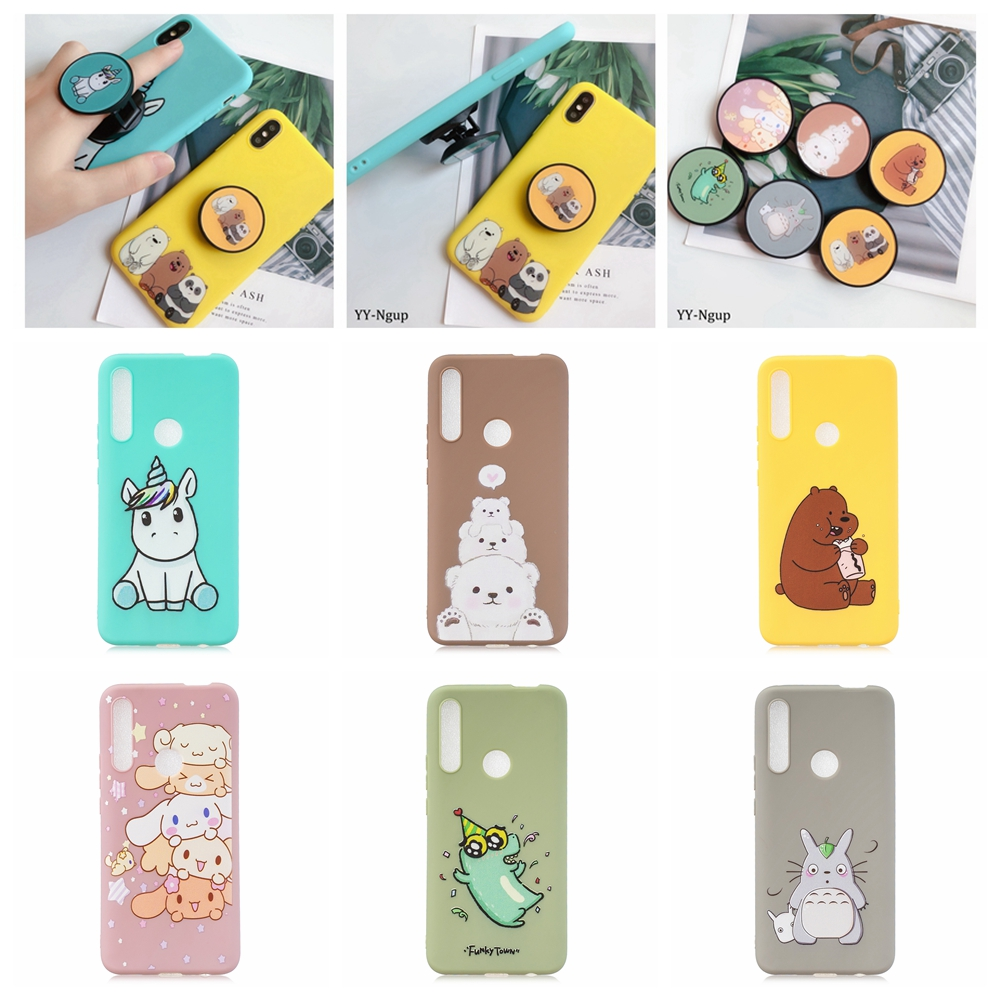 Huawei P Smart Z 2019 Case Kawaii Phone Stand Holder Unicorn Bear Silicone Cover on for Fundas Women
