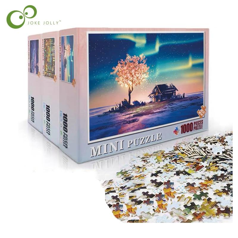 퍼즐 그림 퍼즐 1000 조각 나무 조립 미니 퍼즐 성인을위한 장난감 어린이 게임 교육 완구 gyh