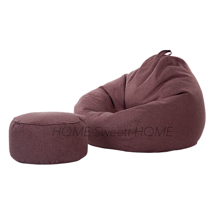 Lazy Bean Bag Chair Cover For Adults Ottoman Cover Without Filler Beanbag Sofa Washable Cover Only Living Room Furniture