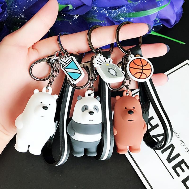 Cartoon Anime We Bare Bear Plush Toys Pom Pom Key Pendant Kids Girls Boys Gift Keychain Baby Toys Bag Pendant Decor Stuffed Doll