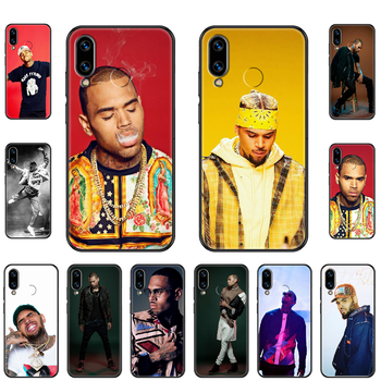 Rap singer  Chris Brown Phone case For Huawei Honor Mate 5 7 8 9 10 20 i A X Lite Pro black painting coque tpu funda soft image