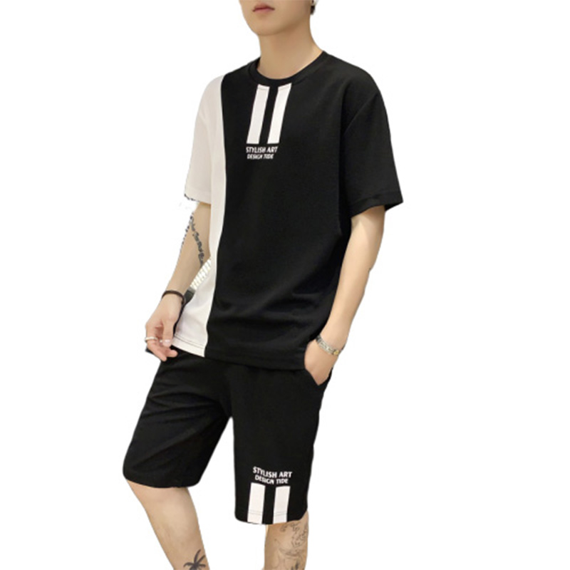 VOGUELEO 2019 New Style Fashion Summer Sets Oversize  Cotton  Casual  Solid T-shirt  Men Clothing Multiple Colors Loose  O-Neck