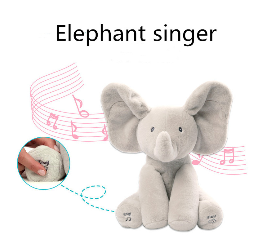 30CM Cute Hide And Seek Electric Elephant Plush Music Soothing Toys Music Interactive Model For Child Gift