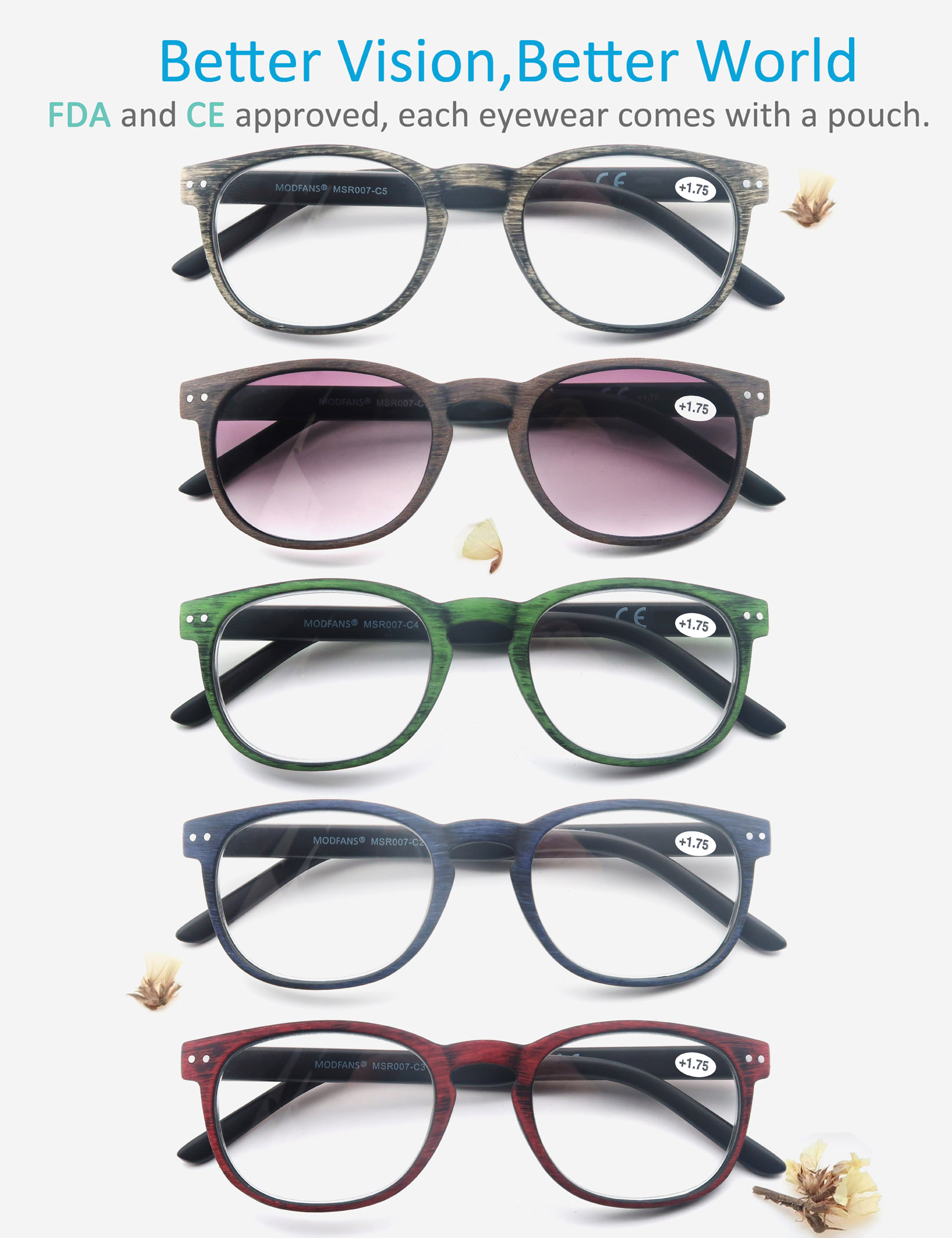 Round <font><b>Reading</b></font> <font><b>Glasses</b></font> <font><b>Men</b></font> Women Wood Look Frame Unisex Eyeglasses Vintage Spring hinge diopter 1 1.25 1.5 1.75 2 <font><b>2.25</b></font> 2.5 3 3.5 image