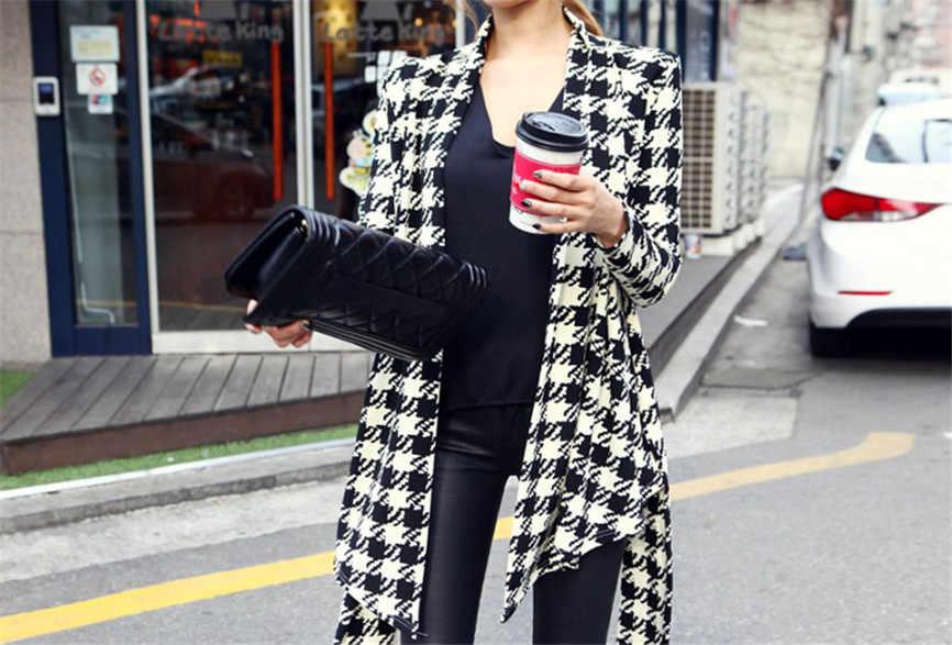 Schlank Kühle Dame Jacken Taschen Casual Langen Ärmeln Mäntel Koreanische Frauen Hahnentritt Muster Dünne Strickjacke Mantel Jacke Outwear