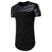 Summer Boys Black Leather T-shirt Short Sleeve Tops Hot