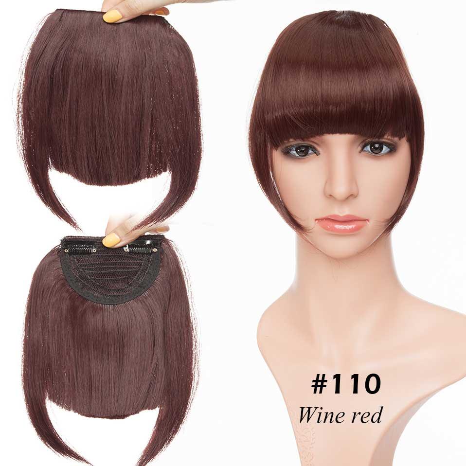 SNOILITE короткие передние тупые челки Клип короткая челка волосы для наращивания прямые синтетические настоящие натуральные накладные волосы - Цвет: wine red