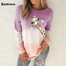 Women Elegant Leisure Casual T-shirt Giraffe Print Long Sleeve Plus size 4xl 5xl Femme Top 2020 Autumn Gradient Color Tees shirt