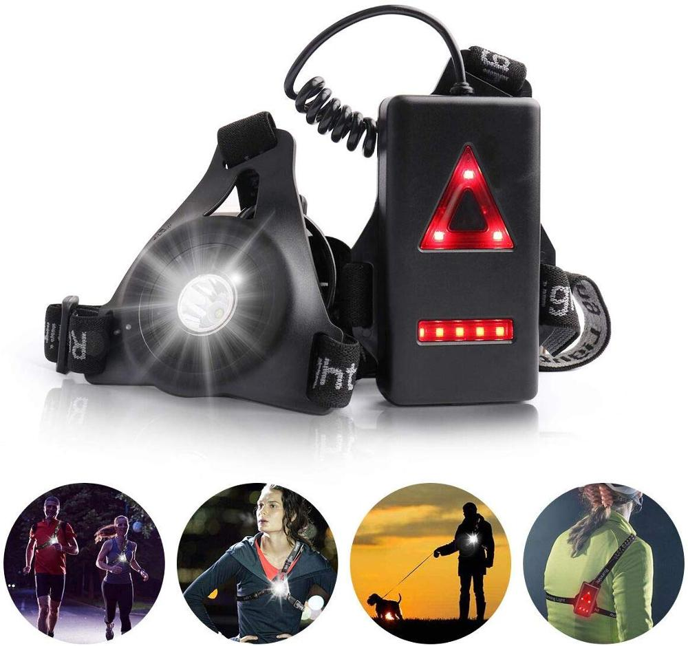 Night Running Lights, Outdoor Safety Back Warning LED Chest Run Lamp With USB Rechargeable Battery & Waterproof For Camping, Dog