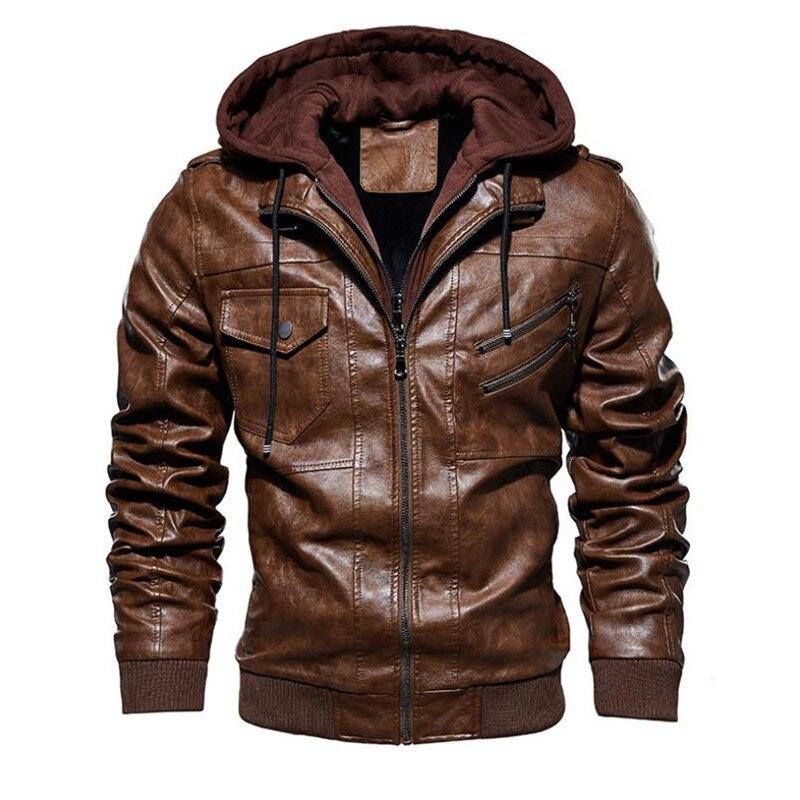 Image 2 - Новая осенне зимняя мужская кожаная мотоциклетная куртка с капюшоном теплая бейсбольная куртка из искусственной кожи большой размер M 4XL мужская кожаная куртка-in Пальто из искусственной кожи from Мужская одежда