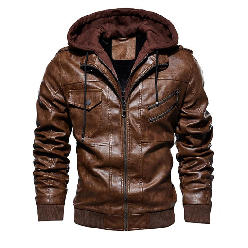 Image 2 - New autumn winter men's leather motorcycle jacket PU hooded jacket warm PU baseball jacket Large size M 4XL-in Faux Leather Coats from Men's Clothing